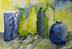 Stillleben Aquarell Aquarell, Stillleben, malen ,Kunst ,bild, Aquarelle, flaschen, vasen, Dekoration, wanddekoration