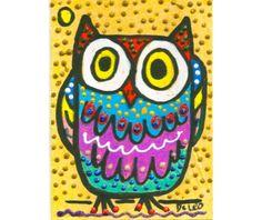 Owl Decor Whimsical Owl Print Funny Owl Art by AGirlAnOwlAndACat, $10.00