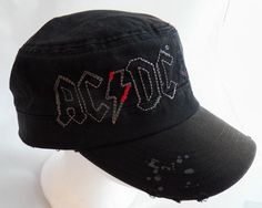 34fc36a32cb AC DC Jailbreak Cadette Hat Cap Embroidered Black Rock Band  ACDC   CadetMilitary Black