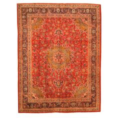 Persian Hand-knotted Mashad Red/ Navy Wool Rug (9'8 x 12'9) | Overstock.com $1200
