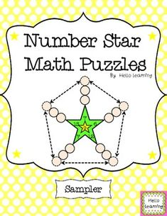 FREEBIE- Number Star Math Puzzles Sampler computation, problem solving, logic, patterns, critical thinking. by Hello Learning