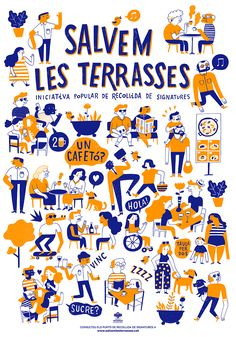 Salvem les terraces on Behance Illustration Design Graphique, People Illustration, Line Illustration, Art Graphique, Digital Illustration, Posca, Character Drawing, Illustrations And Posters, Graphic Design Inspiration