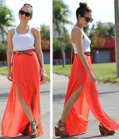Slit maxi skirt! (by Daniela Ramirez) http://lookbook.nu/look/3125857-Slit-maxi-skirt
