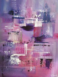 Peinture moderne acrylique violet rose gris blanc noir sur carton entoilé 35 x 27 cm : Peintures par stephanie-menard