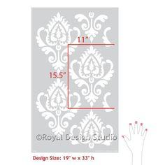 Ethnic Ikat Damask Stencil Pattern for Walls & Furniture Stenciling   Royal Design Studio Stencils