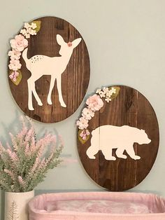 Fawn and Bear Rustic Sign Set with Blush Pink Floral Arrangement, woodland nursery, girl nursery, baby girl, wood sign Woodland Nursery Girl, Woodland Theme, Woodland Animals, Baby Room Decor, Nursery Room, Nursery Ideas, Wall Decor, Room Ideas, Nursery Crafts