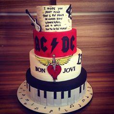 AC DC , Bon Jovi and Elton John cake