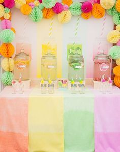 Drink's station #DrinksDispensers #DrinksStation #bar #party #partyideas #partyinspiration Baby Birthday, First Birthday Parties, Birthday Party Themes, Birthday Cake, Birthday Ideas, Fruit Party, Candy Party, Tutti Frutti, Tutti Fruity Party