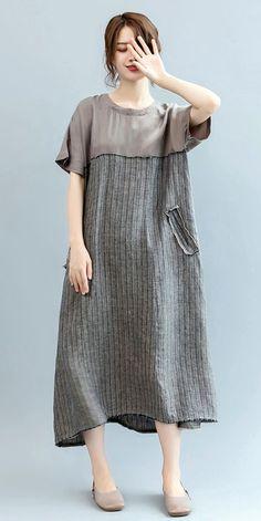 Loose Striped Maxi Dresses Women Linen Clothes Q2567