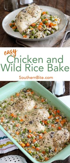 This easy chicken and wild rice bake recipe only calls for 4 ingredients and is crazy easy! Best Grill Recipes, Great Recipes, Dinner Recipes, Cooking Recipes, Favorite Recipes, Dinner Ideas, Supper Ideas, Dinner Options, Interesting Recipes