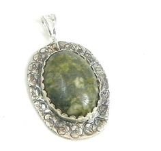 Silver Pendant, African Opal Pendant, Large Gemstone, Pendant Necklace, Fine Silver Jewelry
