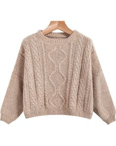 Khaki Long Sleeve Crop Cable Knit Sweater 18.33