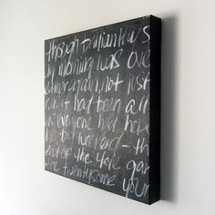 Spray a canvas with chalkboard paint and viola! Can't wait to make some and have weekly quotes or reminders. All sorts of ideas are coming to mind!