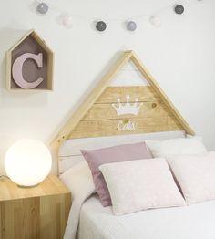 Cabecero con corona personalizable - Cabeceros y madera Ideas Dormitorios, Cool Beds, Girls Bedroom, Ideas Para, Kids Room, Toddler Bed, Diy Crafts, Furniture, Design