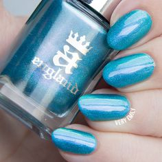 Turquoise blue nail polish with holographic effect - A England, Whispering Waves