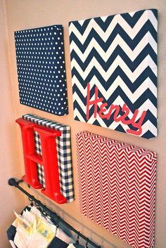 So cute and a unique twist to putting a name on the wall! Wall Art Canvas with letters: chevron, dot, plaid fabric DIY craft baby room nursery infant boy girl easy Fabric Covered Canvas, Fabric Canvas Art, Canvas Collage, Wall Canvas, Cuadros Diy, Diy And Crafts, Arts And Crafts, Do It Yourself Inspiration, Diy Casa