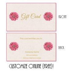 Free printable gift card templates that can be customized online ...
