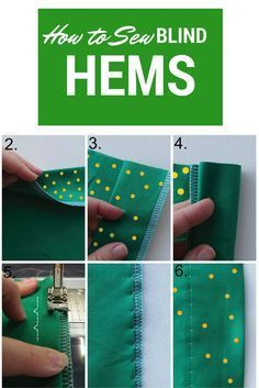 "How to sew Blind Hems Here's a quick ""how to"" for sewing Blind Hems. You often see this hem on pants or fancy dresses. It's a terrific little technique for sewing a hem so that your stitches are almost invisible on the right side of the garment. http://www.onethimble.com.au #onethimble #sewing #craft #hobby #patterns #material #fabric"