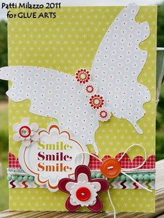 Smile Card by #GlueArts Designer @Patti Milazzo using GlueArts 3D Combo Pac and #Pebbles Happy Go Lucky collection.