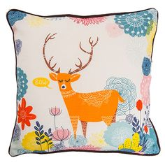 DEER IN JUNGLE CUSHION COVER 12 INCH - DECOR & FURNITURE :: Chumbak By Chumbak