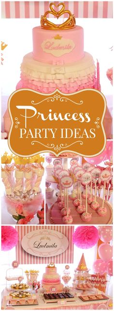 This princess party sparkles in pink and gold! See more party ideas at CatchMyParty.com!