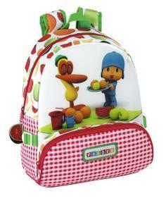 Mochila infantil adaptable a carro con Pocoyo y Pato. Dimensiones: 28 cm x 34 cm x 10 cm.