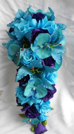 Bridal wedding set Malibu blue cascade silk flowers bouquet tiger lilies , orchids and roses - Cascade bridal bouquet turquoise malibu by VictoriaSilkDesigns - Cascading Bridal Bouquets, Purple Bouquets, Silk Flower Bouquets, Cascade Bouquet, Purple Wedding Flowers, Bride Bouquets, Flower Bouquet Wedding, Silk Flowers, Blue Bouquet