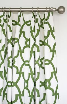 Stunning meadow green trellis linen drapes by Tonic Living #toniclivingdreamroom #homedecor