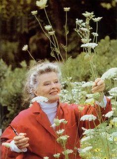 Katharine Hepburn gardening at 81 years of age