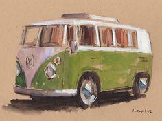 Vintage Trucks Art Print Car Painting VW Van Hippie Geekery on - Green Bus by David Lloyd - Vw Bus, Volkswagen, Bus Drawing, Drawing Sketches, Drawings, Drawing Ideas, Van Hippie, Porsche 911 964, Bus Art