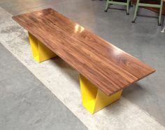 Walnut top bench with one piece steel legs. by ZimmMetalworks