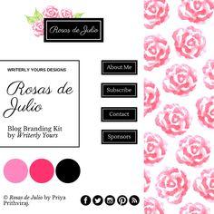 Rosas de Julio - a simple and pretty, minimalist blog branding kit from Writerly Yours.  #blog #branding #feminineblog #design #bloggraphics