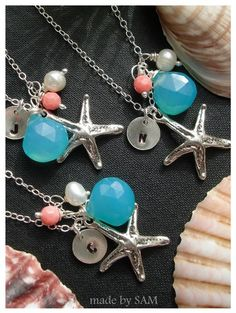 Starfish wedding  sterling silver  aqua  coral  pearl by madebysam, $42.98
