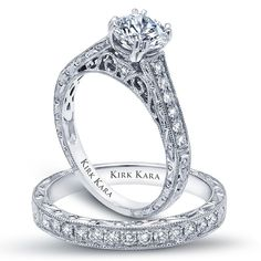 Classic engagement ring/ hand engraved engagement ring/ detailed engagement ring/ round engagement ting/ Kirk Kara engagement ring from the Stella collection Style: K160ER/K160E-B