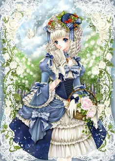 ✮ ANIME ART ✮ anime. . .formal wear. . .Rococo. . .historical dress. . .ribbons. . .ruffles. . .lace. . .gloves. . .hat. . .roses. . .basket. . .cute. . .kawaii