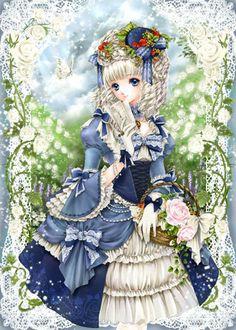✮ ANIME ART ✮ anime. . .formal wear. . .Rococo. . .historical dress. . .ribbons. . .ruffles. . .lace. . .gloves. . .hat. . .roses. . .basket. . .cute. . .kawaii