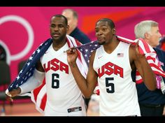 LeBron James and Kevin Durant of the United States celebrate winning the men's basketball Gold medal game against Spain. Team Usa Basketball, Olympic Basketball, Basketball Tricks, Olympic Team, Football, Kevin Durant, Durant Nba, James Harden, Russell Westbrook