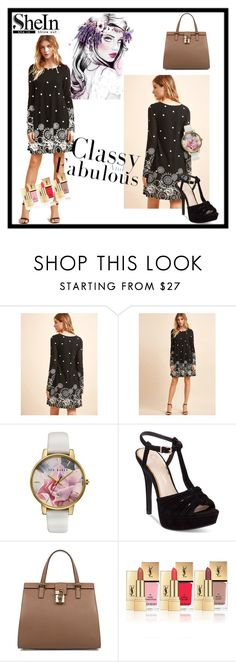 """""""Black Retro Circle Print"""" by tainted-scars ❤ liked on Polyvore featuring Ted Baker, Jessica Simpson, Dolce&Gabbana and Yves Saint Laurent"""