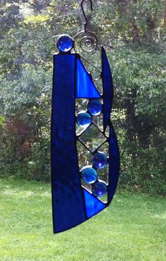 Custom Abstract Stained Glass Suncatcher por StainedGlassAndMore