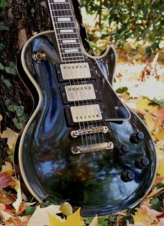 1950's Black Beauty - gorgeous electric guitar in an autumn fall outdoors setting.