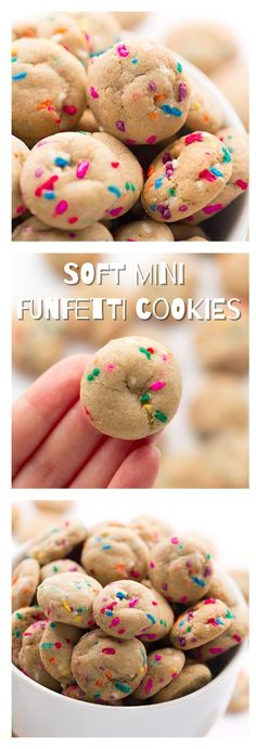 Soft Mini Funfetti Cookies: these one-bite, soft, chewy, sprinkle cookies are so easy to make and even easier to pop into your mouth repeatedly.   TrufflesandTrends.com