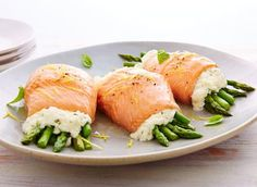 This is the Ricotta & asparagus trout rolls recipe. Fish Recipes, Meat Recipes, Seafood Recipes, Cooking Recipes, Healthy Recipes, Ricotta, Canadian Cheese, Lunch Snacks, Health Foods