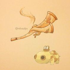 Instagram media by rebusalpa - Pokeapon No. 449 - Hippopotas. #pokemon…