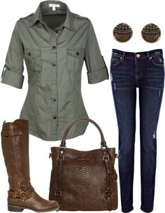 This is exactly what the shirt I have looks like (only my boobs are too big and therefore, I have to leave it unbuttoned).  I'm thinking black tank underneath and my brown boots.