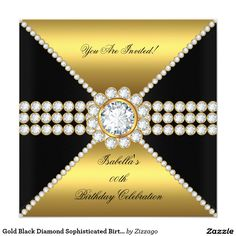 Gold Black Diamond Sophisticated Birthday Party 5.25x5.25 Square Paper Invitation Card