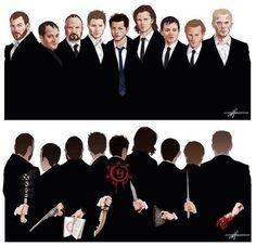 Spn->Benny , crowley, bobby , Dean, Castiel, Sam , Kevin, Gabriel, Lucifer