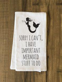 Important Mermaid Stuff Black Tea Towel