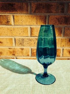 Incredible Hand Blown Italian Optic Glass stemmed Goblet Teal Blue on Etsy, $19.95