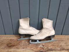 Vintage Ice Skates with plaid interior - Carol Heiss Olympic Skates by…