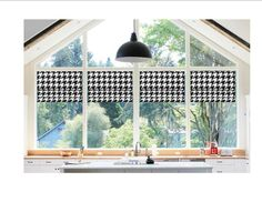 Faux Roman Shade Valance Custom Made in Black & White Houndstooth Print Fully Lined, Ready to Hang Modern Roman Shades, Faux Roman Shades, Modern Valances, Folded Hands, Home Decor Fabric, Drapes Curtains, Window Treatments, Custom Made, Windows